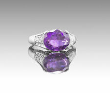 925 Sterling Silver Ring with Oval Cut Natural Purple Amethyst Gemstone eBay