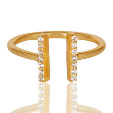 Handmade CZ Stackable Brass Ring 14k Gold Plated Adjustable Fashion Jewelry