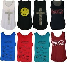 Womens Cross CocaCola Smiley Moustaches Tiger Sharks Lips Ladies Print Vest Top