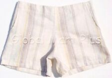 Shorts Linen Flat Front 2 Pockets Elastic Waistband Stripes Youth Girls Cleo Dot