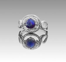 925 Sterling Silver Ring with Natural Blue Sapphire Round Gemstone Handmade eBay