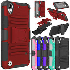 Hybrid Phone Case W/Kickstand Holster Belt Clip Cover For HTC Desire 555 530 630