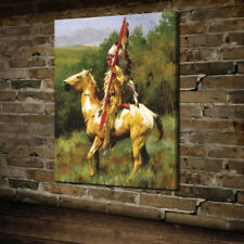 HD Print Native American On The Horse  Art Home Decor Oil Painting on Canvas