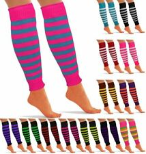 Womens Ladies Striped Neon Knitted Leg Warmers Disco Party Fancy Dress Parties