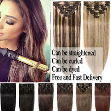 Remy Clip In 100% Real Human Hair Extensions DIY Full Head 8pcs Ombre Hairpiece