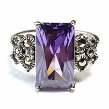 (SIZE 6,7,8)  AMETHYST STONE RING Baguette Gem Marcasite .925 STERLING SILVER