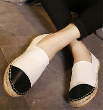 Womens Leather Espadrilles Slip On Ballet Flats Loafers Classic Fisherman Shoes