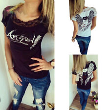 Women Angel Wings Lace Short Sleeve Back Hollow Out Casual T-Shirt Tops Blouse