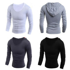 Men Boys Slim Fitted Long Sleeve Hooded Muscle Casual Tees Tops Pullover Shirts