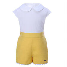 Boys White T-shirt Top and Yellow Shorts Set Spanish Style Children Party Outfit