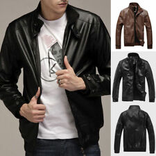 Fashion Men' s Slim Fit Collar Motorcycle Biker PU Leather Jacket Coat Plus Size
