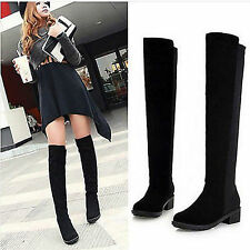 Women Lady Stretch Over Knee Thigh High Elastic Low Block Heel Shoes Calf Boots