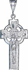 Large Sterling Silver Celtic Cross with Jesus Pendant Necklace with Diamond Cuts