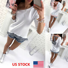 US Women Ladies Strappy Back Bowknot Summer Beach Lace Blouse Tops Tees T-Shirt