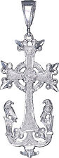 Sterling Silver Armenian Cross and Eagles Pendant Necklace with 24 Inch Chain