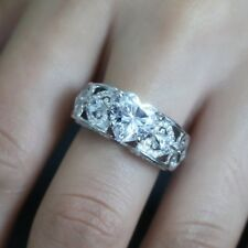 925 Silver Ring 2.1CT White Topaz  Heart Bridal Wedding Engagement Size 6-10