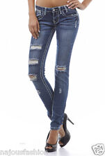 NWT Clash skinny blue Jeans distressed ripped destroyed pants pockets stitching