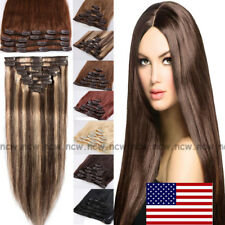 8Piece Clip in Extension 100% Real Human Hair Extensions Highlight US STOCK B774