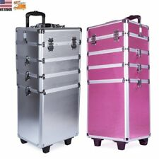 Pro Travel Rolling Trolley Makeup Beauty Nail Case Cosmetic Storage Organizer US