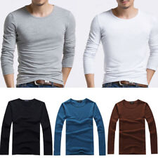 Fashion Men Slim Fit Long Sleeve Solid Casual Crew Neck Tees T-shirt Tops Shirt