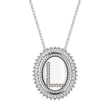 Cubic Zirconia Alphabet Pendant Necklace Silver-Tone Oval with 26 Initial Letter