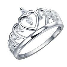 925 Silver Natural 0.5CT White Topaz Crown Love Heart Wedding Engagement Ring