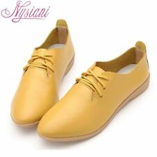 Split Leather Oxford Shoes For Women Pointed Toe