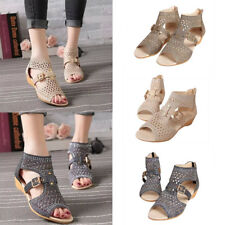 Women Roman Diamond Low Wedge Heel Peep Toe Hollow Ankle Strap Sandals Shoes