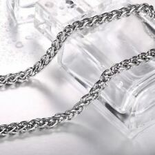 Steel soldier Men Spiga Plait Necklace Chain Stainless Steel Silver