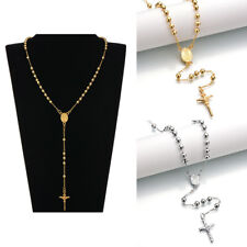 Men Women Gold-color Virgin Mary Rosary Hip-hop Necklace Jewelry Prayer Bead HOT