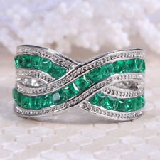 4.3ct Emerald Women 925 Silver Jewelry Wedding Engagement Ring Cocktail Size6-10