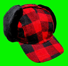 Winter Hunting Hat - Cap With Dog Ear-Flaps Red-Black Wool Buffalo Plaid Check