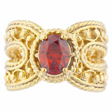 14Kt Yellow Gold Plated Garnet Oval Cocktail Design Ring
