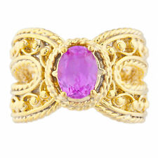 14Kt Yellow Gold Plated Pink Sapphire Oval Cocktail Design Ring