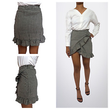New S M L Women Fashion Black White Gingham Checked Wrap Ruffle Mini Short Skirt