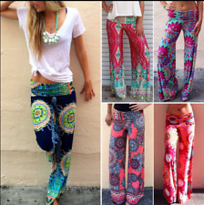 Women's Boho Floral Yoga Wide Leg Pants Tribal Beach Baggy Gypsy Trousers*Casual