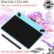 New Blue WACOM CTH-490 Intuos Pen Touch Graphics Tablet+Extra 10x Spare Pen Nibs