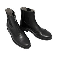 Paddock & Jodhpur Boots Zip Front Horse Riding Boots Leather Black