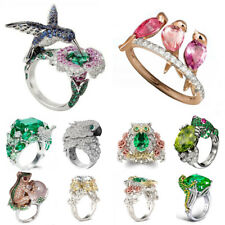 925 Silver Ring Animal Bird Frog Emerald Topaz Vintage Wedding Cocktail Size6-10