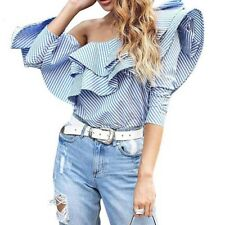 Women Flounce Off Shoulder Striped Blouse Tops Office Lady Shirt Casual Wear