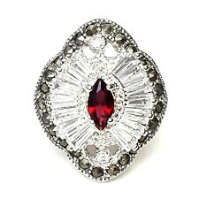 (SIZE 6,7,8) Marquise GARNET STONE Cocktail RING Marcasite .925 STERLING SILVER