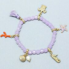 IN THE PARK LAVENDAR OCEAN SEA LIFE CHARMS STRETCH BRACELET BY JEWELRY LANE