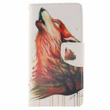 Wolf Pattern PU Leather Wallet Case Flip Cover Folio Stand Card Pocket for Phone