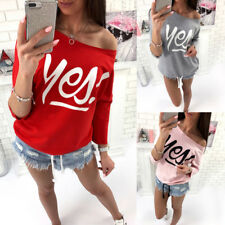 Colorful T-shirt Blouse Great Sexy Women Long Sleeve Loose Off Shoulder Pullover