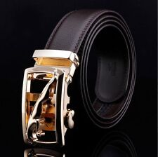 Men Leather Belt With Automatic Gold Leopard Designer Buckle Casual Formal
