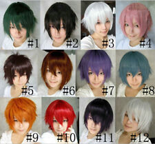 Hot Unisex Anime Cosplay Party Short layered Straight Wigs Full Cos hair Wig