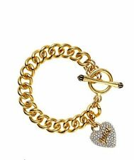 NEW JUICY COUTURE PAVE HEART CHAIN LINK BRACELET YJRU7514~ NIB