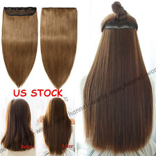 One Piece Clip in Remy Human Hair Extensions Half Full Head Blonde Brown US B434