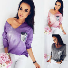 Long Slevee Sequins Casual Blouse Ladies Loose T-Shirt Sexy V Neck Fashion Women