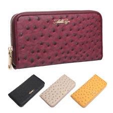 Aitbags Ostrich Grain Leather Wallet for Women Clutch Purse Card Case Zip Around